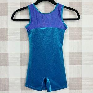 Pelle Gymnastics Leotard Blue Purple Glitter Sz M